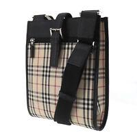 Burberry Classic Check Shoulder Bag Beige Black Nylon Canvas Authentic #AC475 Y