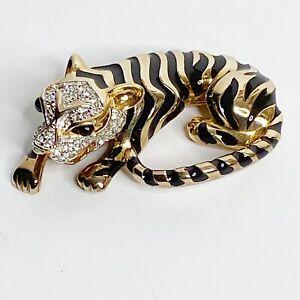 Vintage Rare PANETTA Tiger Clear Rhinestone Crystals Brooch Pendant Jewelry