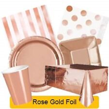 ROSE GOLD FOIL Party Tableware Disposable Birthday Supplies Event Decorations