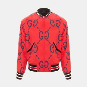 Gucci Ghost Print Satin Duchesse Bomber Jacket In Red RRP £1610