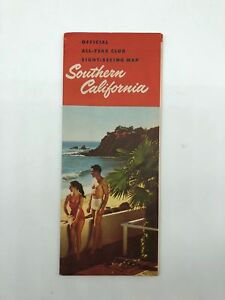 Southern California CA - Official All-Year Club Sight-Seeing Map - 1960