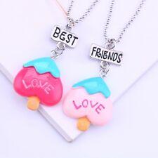 2PCS Best friends Kids BFF Necklace For Children Heart Popsicle Pendant Necklace
