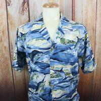 Kahala Mens Large Button Shirt Hawaiian Short Sleeve Fish Pattern Blue
