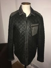 AllSaints Mens Quilted Leather Jacket LARGE RRP >£300