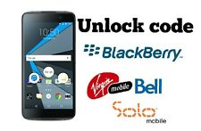 Unlock code Bell Virgin Solo Blackberry Key one Priv Classic DTek50 Z30 Z10