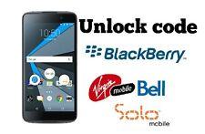 Unlock code Bell Virgin Solo Blackberry Priv  Classic DTek50 Z30 Z10 Passport