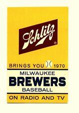 1970 Milwaukee Brewers Baseball Pocket Schedule with Schlitz Beer advertising