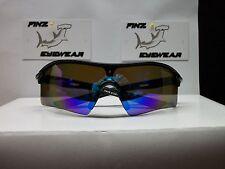FINZ POLARIZED BASEBALL GOLF SUNGLASSES BLACK-BLACK / BLUE MIRROR.....NASTY