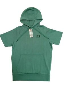 Under Armour Short Sleeve Hoodie Mens Small New Green Fleece Loose Fit Training