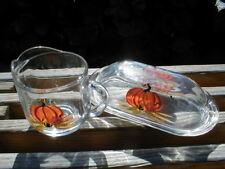 Garden Party of Vermont Clear Glass Thanksgiving Pumpkin Butter Dish & Creamer