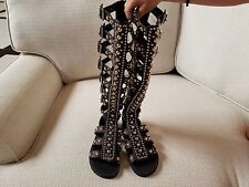 Jeffrey Campbell black gladiater leather knee high size 8