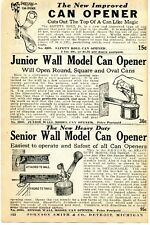 1935 small Print Ad Vaughan's Safety Roll Junior & Senior Wall Model Can Opener