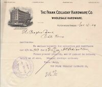 U. States The Frank Colladay Hardware Co. 1909 Building Illust Invoice Ref 39452