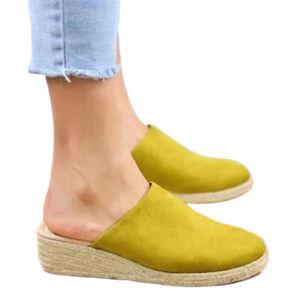 Womens Closed Toe Slides Slip On Espadrilles Mule Wedges Sandals Backless Loafer