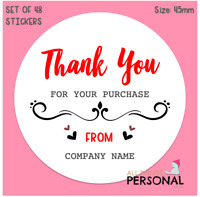 Personalised Thank You for Order Business Name Stickers Seals Labels Address x48