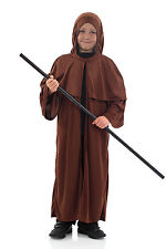 Boys Kids Medieval Saxon Monk Costume Brown Fancy Dress AGE 4-12 NEW