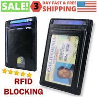 RFID Blocking Pocket Front Wallet Leather ID Credit Card Holder Slim Men's Purse