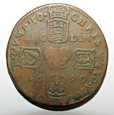 Irish Ireland Hibernia RARE !!!!  James II, Gunmoney coinage, Crown, 1690