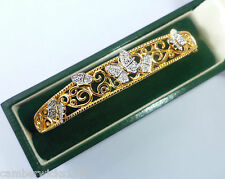 9ct Gold Plated Sterling Silver & Diamond Filigree Butterfly Bangle, NEW