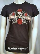 Lucky 13 Pirate Banner True Love Skull Tattoo Goth Punk Rock Rose T Tee Shirt S