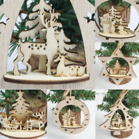 Christmas Tree Wooden Home Decor Snowflakes Merry Xmas Hanging Ornament