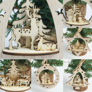 Christmas Tree Decoration Wooden Carving Hanging Pendant Xmas Party Home Decor