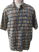 Tori Richard mens Hawaiian shirt size XL Honolulu cotton lawn tan green 1 pocket