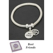 GIFT BOXED Equilibrium Silver Plated Bangle Friends Tree of Life Bracelet Mesh