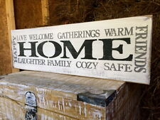 "Large Rustic Wood Sign - ""Home Happy Gatherings Welcome Friends Family. . ."""