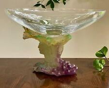 """Daum France Bacchus Pate de Verre & Crystal Centerpiece Bowl Large 13"""" Compote"""