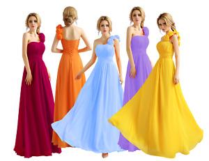 One shoulder flower  Chiffon Floor Length Bridemaid Prom Party Evening Dress