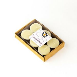 6 Natural White Unscented Beeswax Tea Light Candles, Cotton Wick, Aluminum Cup