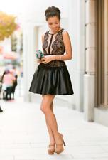 $338 BCBG MaxAzria Layton Black Lace Faux Leather Cocktail Dress Size 8 Medium M