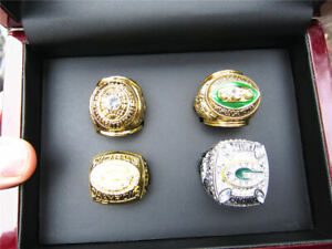4 pcs Green Bay Packers American Football Team ring Set With Wooden Box Fan Gift