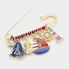 Safety Pin Brooch Acrylic Dangle Charm Nautical Anchor Boat Jewelry