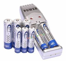 4 AA 3000mAh + 4 AAA 1000mAh Ni-Mh BTY Rechargeable Battery Cell+ USB Charger