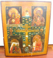 LARGE ORIGINAL ANTIQUE ORTHODOX RUSSIAN ICON 18TH C MOTHER OF GOD CRUCIFIXION