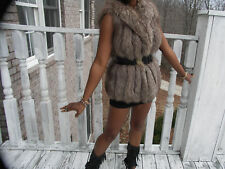 Fab Gray silver color Fox Fur Vest Sleeveless Coat S-M