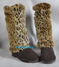 leopard print Fashion faux fur funky leg warmers boots cover club dance shoes