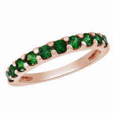 Emerald Anniversary Wedding Band Ring 18K Rose Gold Plated