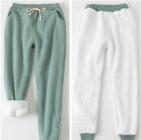 Damenmode Fleece Lange Hosen Elastische Taille Kordelzug Knöchelbund Winter Warm