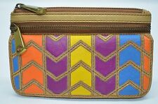 Fossil Explorer Leather Multi-function Zip Flap Organizer Wallet Clutch Chevron
