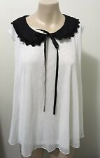 """BNWT """"Girl express"""" off white tulle black embroidered collar ribbon bow size 18"""