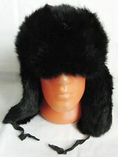 Russian Rabbit BLACK Fur Ushanka Hat Adjustable Size 56cm to 59cm S-L New