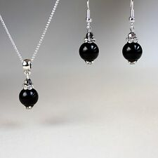 Black pearls earrings pendant necklace wedding bridesmaid silver jewellery set