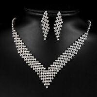 Mode Hochzeit Braut Silber Schmuck Kristall Strass Halskette Ohrringe  ZVPj
