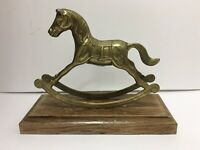 Vintage Brass Rocking Horse Figurine Carousel Racehorse Nursery Decor Hobby Used