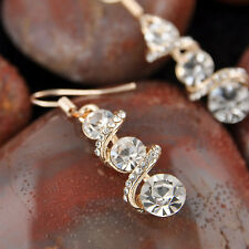 Fashion Womens Gold Plated Earrings Crystal Dangle Drop Hook Ear Studs Jewelry