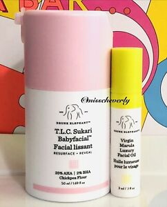 DRUNK ELEPHANT T.L.C. Sukari Babyfacial Mask 50ml/1.69oz + Virgin Marula Oil NIB