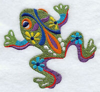 Frog RANA Embroidered SET 2 BATHROOM HAND TOWELs by laura
